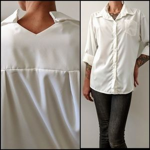 Tops - White Korean button down with cut out collar